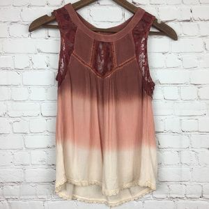 Patrons of Peace Ombré Lace Tank Top Small